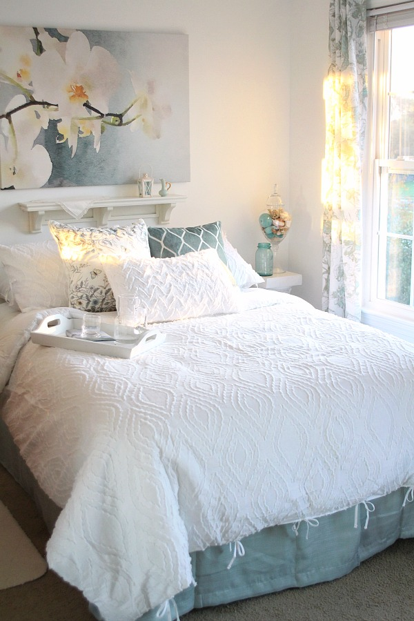 DIY Bedroom makeover from messy teen room to Moms French Country retreat or welcoming guest room. A bright, beautiful place for reading, resting & relaxing.