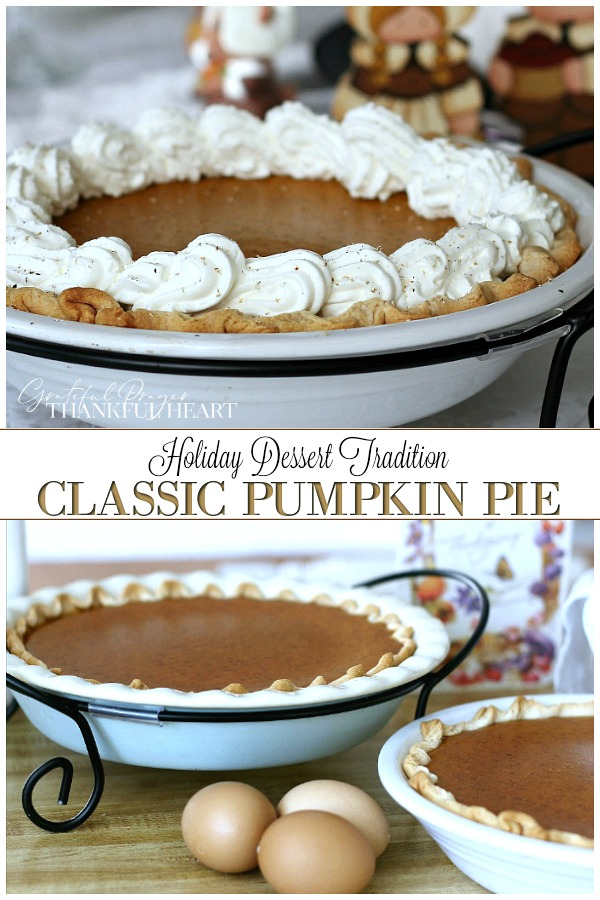 classic Pumpkin Pie is delicious with or without whipped cream. A very easy recipe that makes two pies for Thanksgiving or the autumn time of year.