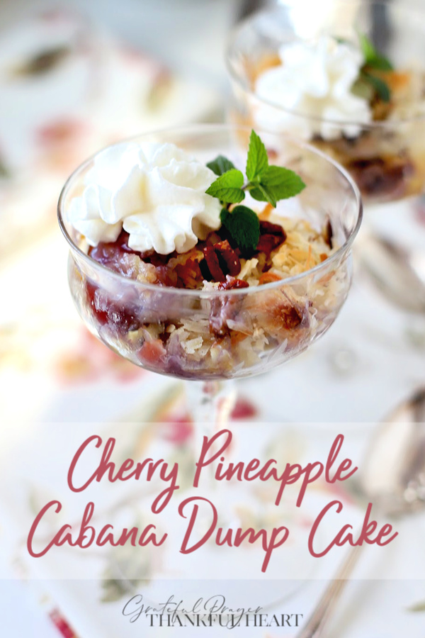 You are probably familiar with dump cakes. Though the title doesn't sound appealing, the cakes are amazingly delicious. Cherry pineapple cabana cake has a sprinkling of coconut that turns toasty while baking giving a wonderful tropical flavor.