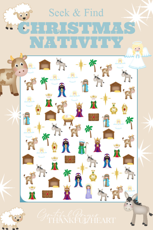 Teach little ones about the birth of Jesus with a fun seek & find pdf printable. Christmas nativity I SPY with cute bible characters is a perfect kid activity.