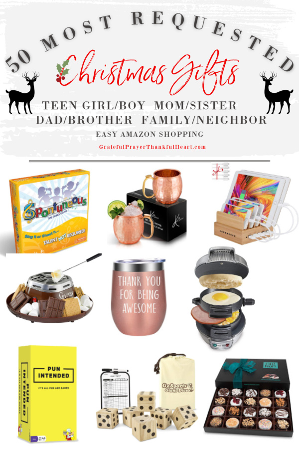 Make gift-giving easy for family gifts and the neighbors on your list. The best and most requested Christmas and holiday shopping guide with ideas and additional suggestions for Mom, sister, girlfriends, Dad, brother, guys, teen girls, teen boys, and him or her. Easy shopping and the best gifts from Amazon!