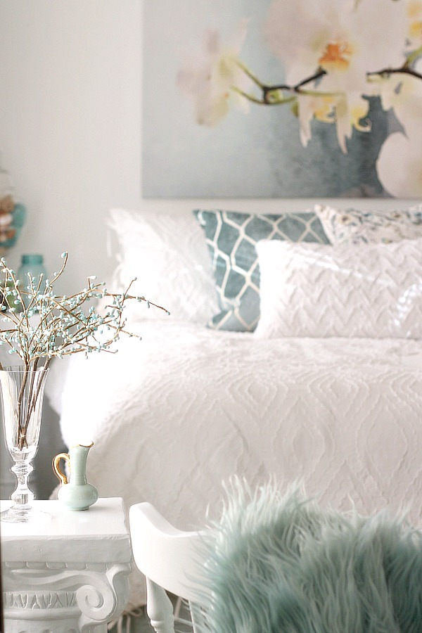 DIY Bedroom makeover from messy teen room to Mom's French Country retreat. A bright, beautiful place for reading, resting and relaxing all done on a budget.