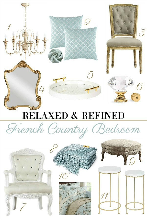 Create your own French Country guest or bedroom that is comfortable and inviting with graceful lines in soft colors. Layered fabrics add texture and painted furniture mixes shabby chic style with ease.