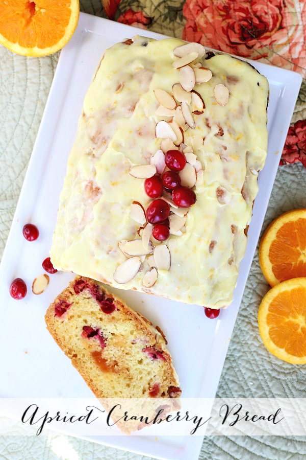 Quick and easy, frosted apricot cranberry bread is a perfect addition to your Thanksgiving dinner menu. Pieces of tart cranberries and swirls of sweet apricot jam combine to make a lovely holiday bread.