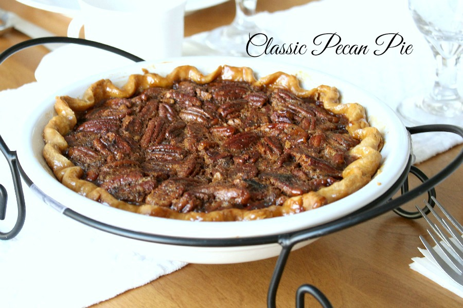 Classic Pecan Pie is delicious with or without whipped cream. A very easy recipe for Thanksgiving or the autumn time of year