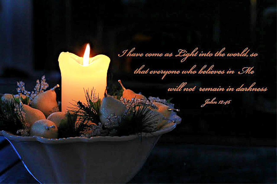 Light of the World John 12 verse 46 candle