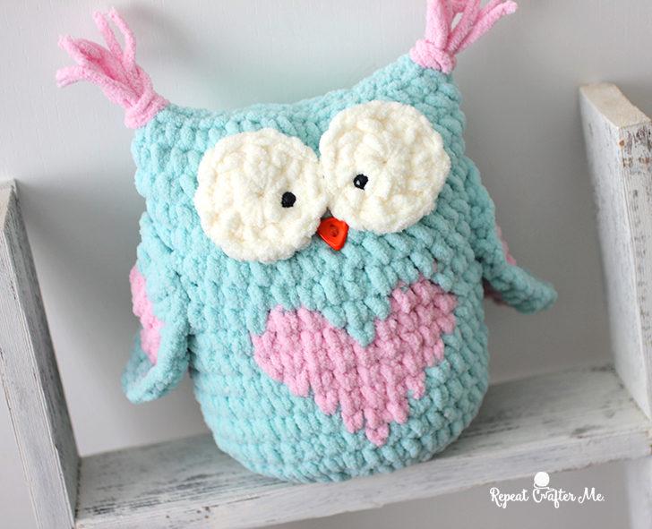 Valentine Heart Crochet Owl