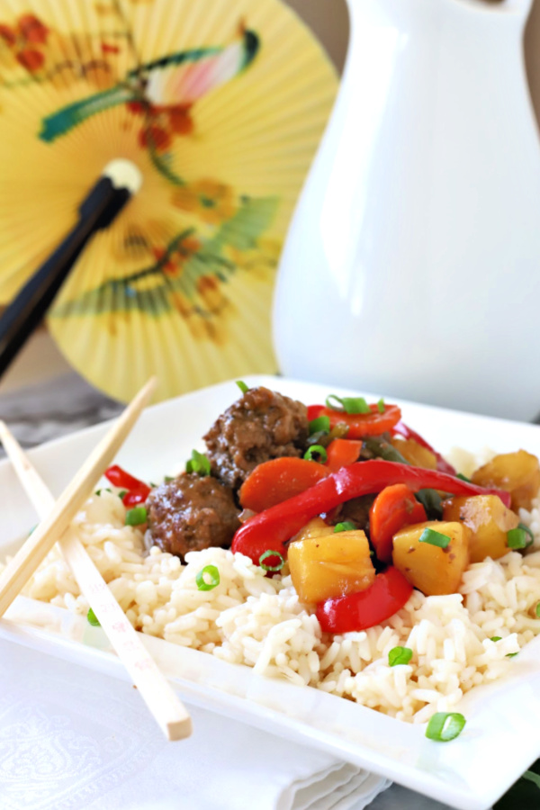 A retro 70's and 80's recipe, sweet and sour meatballs are easy, favorable and worth revisiting. Bell peppers and carrots are cooked crisp tender and added with pineapple chunks to a lightly tangy sauce. Serve over rice for a great weeknight or family dinner.
