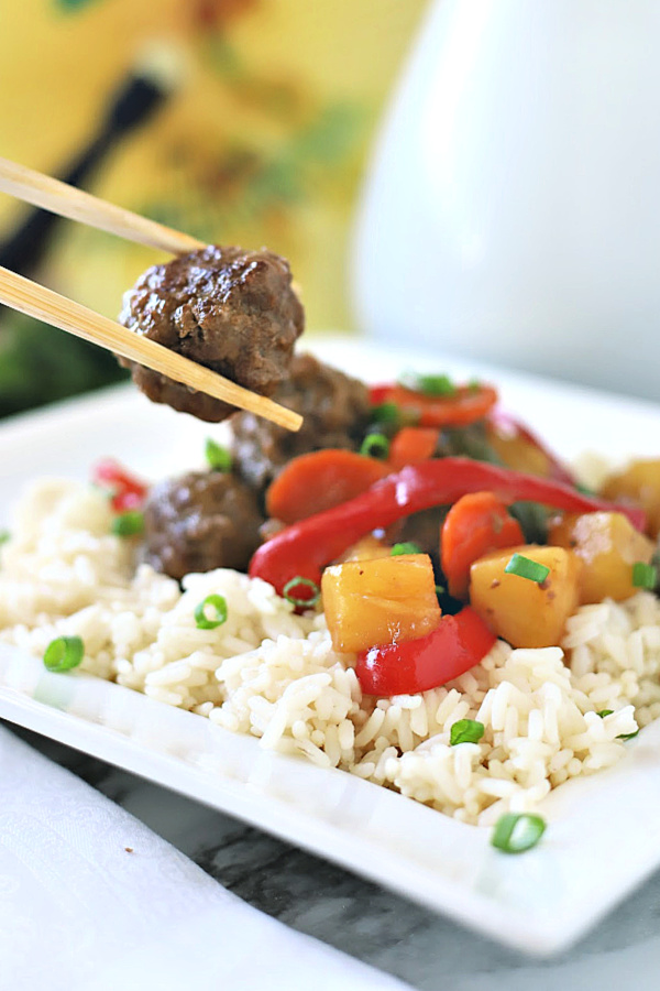 Sweet and sour meatballs is a little retro recipe from the 70's and 80's. Easy and flavorful, it is well worth revisiting for a great weeknight or family dinner. Bell peppers and carrots are cooked crisp tender and added with pineapple chunks to a lightly tangy sauce.