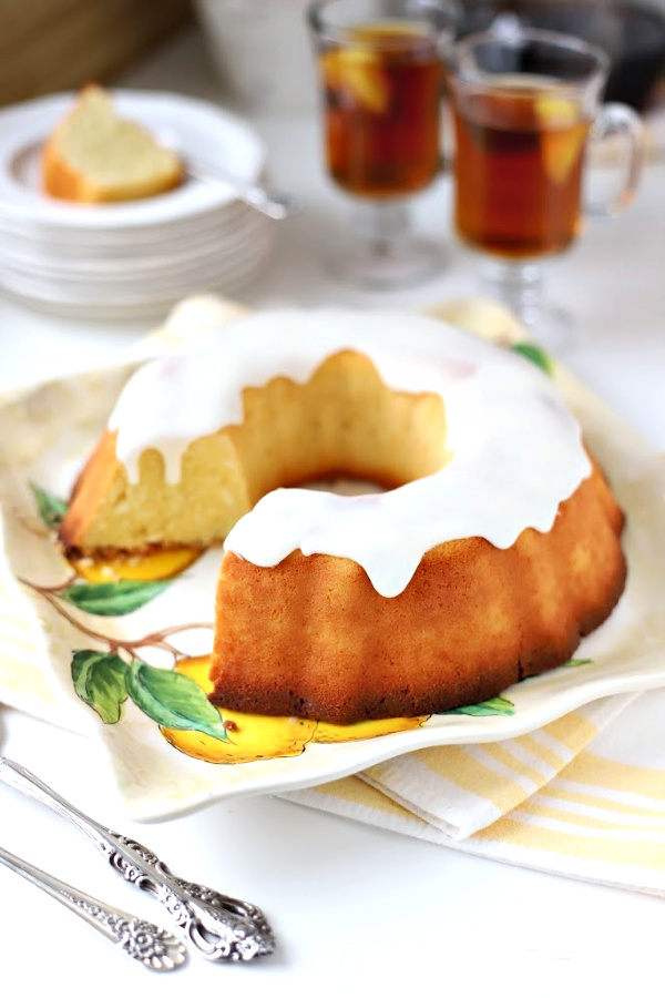 Easy recipe for coconut lemon cake made with coconut milk is similar to pound cake, baked in a Bundt pan, and is a lovely tea time or coffee break dessert.