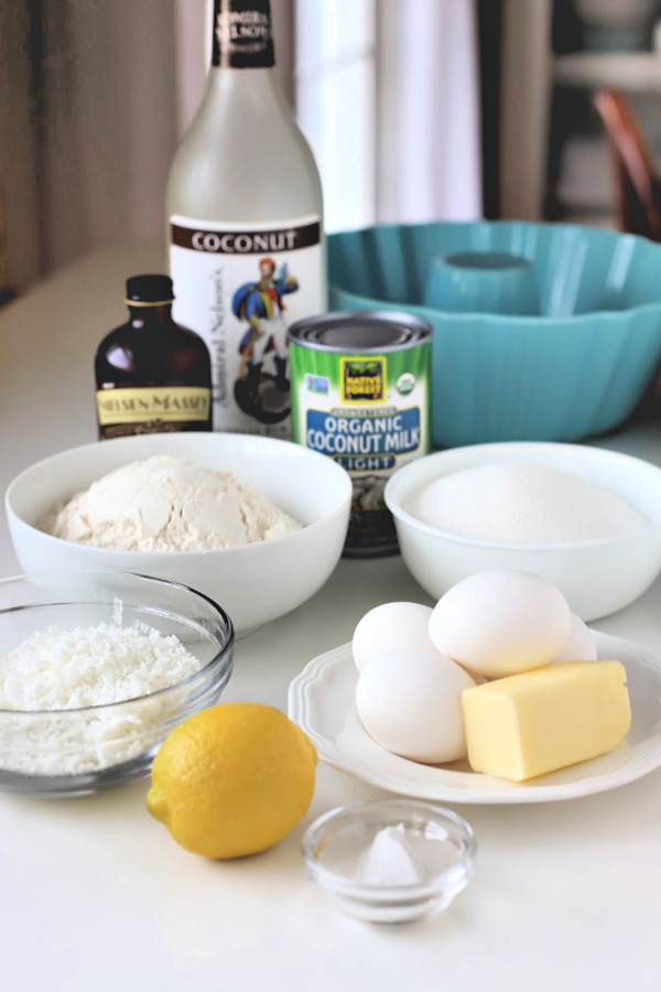An easy recipe, coconut lemon cake is made with coconut milk, shredded coconut and a little rum, if desired. Baked in a Bundt pan it is similar to pound cake and so good with tea and coffee. Serve for dessert or slice and toast for a breakfast treat.