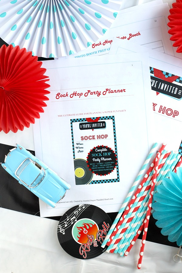 A complete planner for the best Sock Hop birthday party for adults! Have a blast with themed food menu, recipes, decorations, super fun games, cute outfits and costumes, music playlist, sensational photo props and a Fantastic Root beer float bar. Fully detailed and helpful scheduling guide, shopping lists, buffet table setup and more to keep you on track and able to enjoy the celebration.