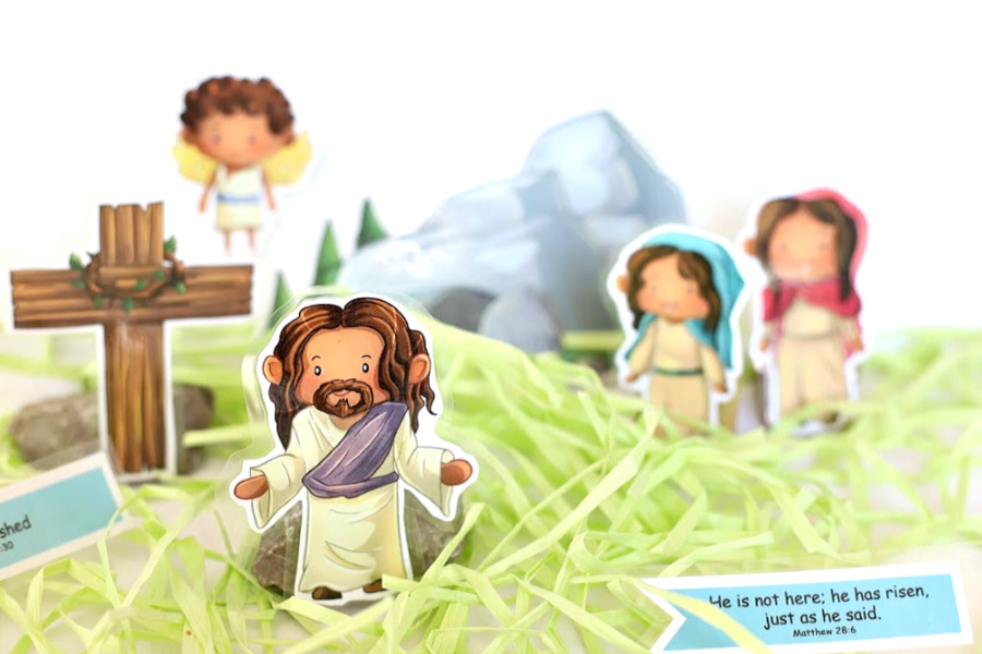 Easter Story printables for kids, homeschoolers, Sunday school teachers to recreate Bible scripture scenes like Jesus entry into Jerusalem on a donkey, waving palm branches, the Last Supper, soldier guarding the tomb, Mary weeping, the empty tome and the resurrected Jesus.