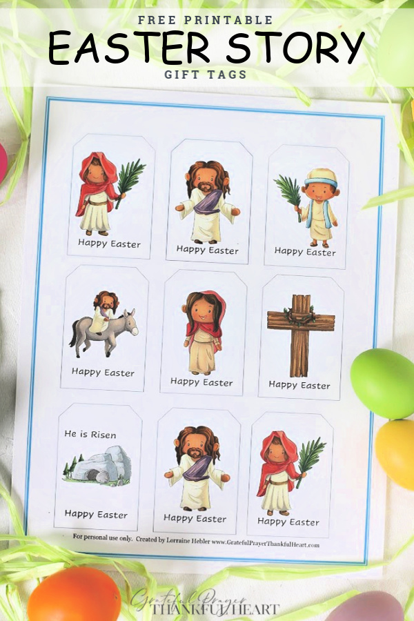 If you fill baskets or make special breads or foods to give to family and friends, please enjoy these FREE printable Christian Easter story gift tags to decorate your gifts.