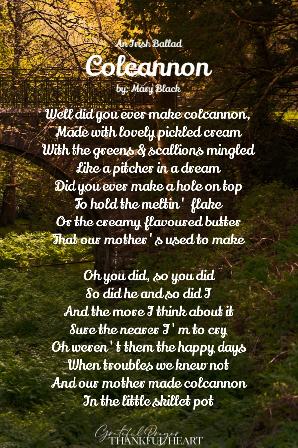 A sweet, nostalgic ballad by Mary Black, Colcannon is an Irish song of memories of youth and a happier era. Listen to this lively piece.
