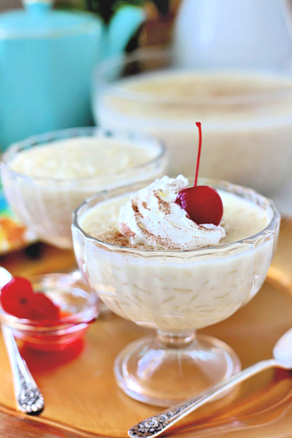 A yummy recipe for rice pudding with just the right balance. Creamy, not too sweet, not too thick, not too thin and not too mushy. And, it is easy to make right on the stovetop.