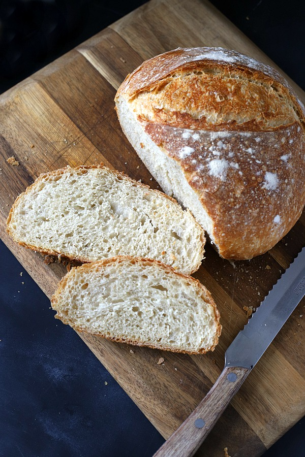 Slice into an amazing loaf of homemade rustic bread that is easy to make with this almost no-knead method. You will love its crusty exterior and deliciously chewy center. From Cook's Illustrated.
