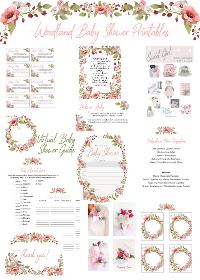 Woodland theme baby shower ideas for hosting an easy yet lovely celebration. Print invitations, thank-you cards with food ideas, games, décor for girls.