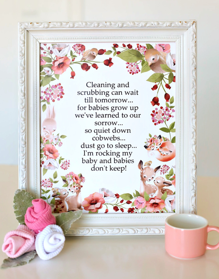 Woodland forest baby animals and mothers snuggled together in soft hues of flora and fauna is the theme around a sweet poem titled, Babies Don't Keep poem. A lovely baby shower gift to print, frame or use to decorate a nursery.