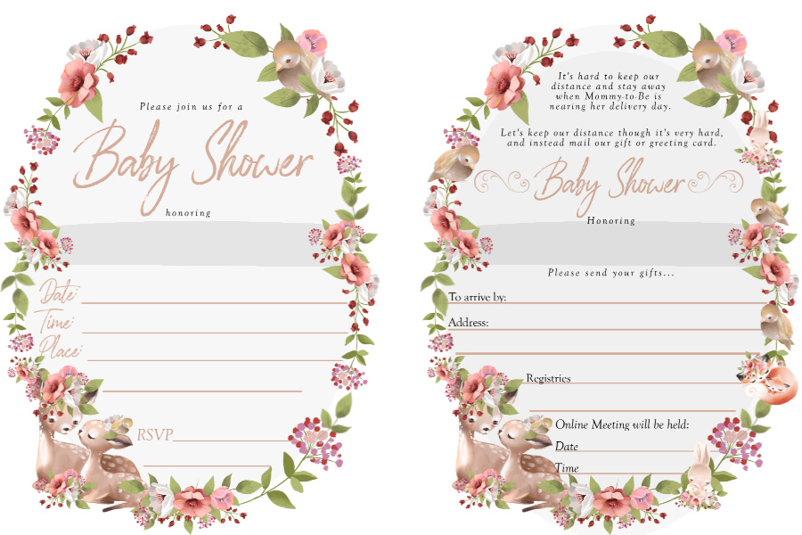 Sweet woodland babies and their mothers themed Baby Shower Invitations for traditional and Virtual parties.