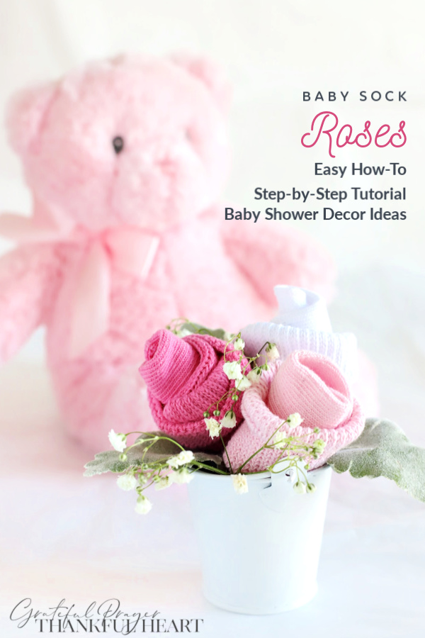 Easy step-by-step how-to for making Mom-to-Be rose corsage or posy for sweet baby shower décor using baby socks.