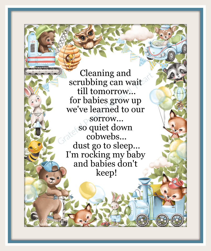 Babies Don't Keep, a sweet poem with a border of endearing animal babies is a perfect nursery or baby shower gift for new mom-to-be.