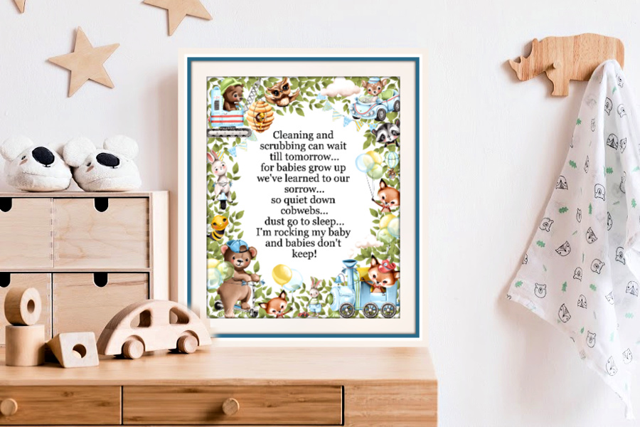 Babies Don't Keep is a sweet poem with a border of endearing animals for baby boy nursery wall art décor or shower, Christening, newborn or birthday gift.