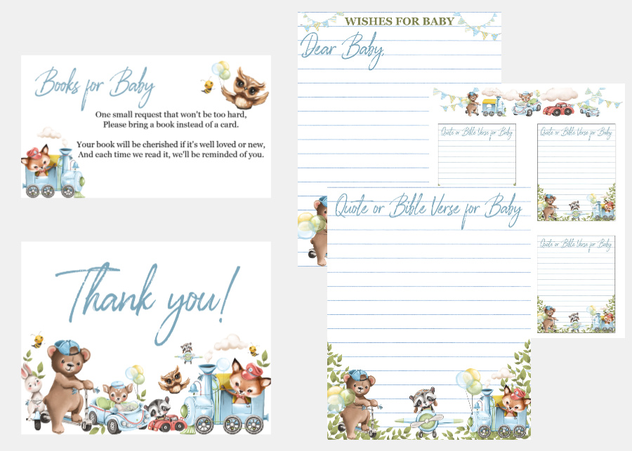 Traditional or virtual baby shower planner with invitations, games, decorations, food menu and recipes. Lists, guides for an easy & beautiful event!