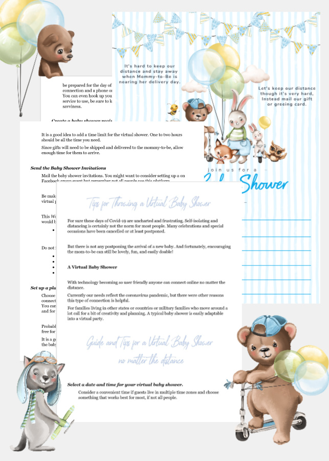 Plan a perfect baby shower! Sweet forest theme ideas for hosting a traditional or virtual baby boy celebration. Invitations, thank-you, Baby Books and Wishes for Baby cards. Perfect food and menu suggestions with easy recipes. A fun party game and helpful planning, guest and gift lists plus the sweetest table décor for boys plus so much more!