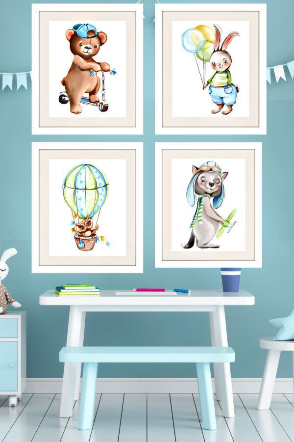 Set of 4 modern wall art prints of soft, cuddly forest animals to decorate a baby boy nursery or give as a baby shower gift.
