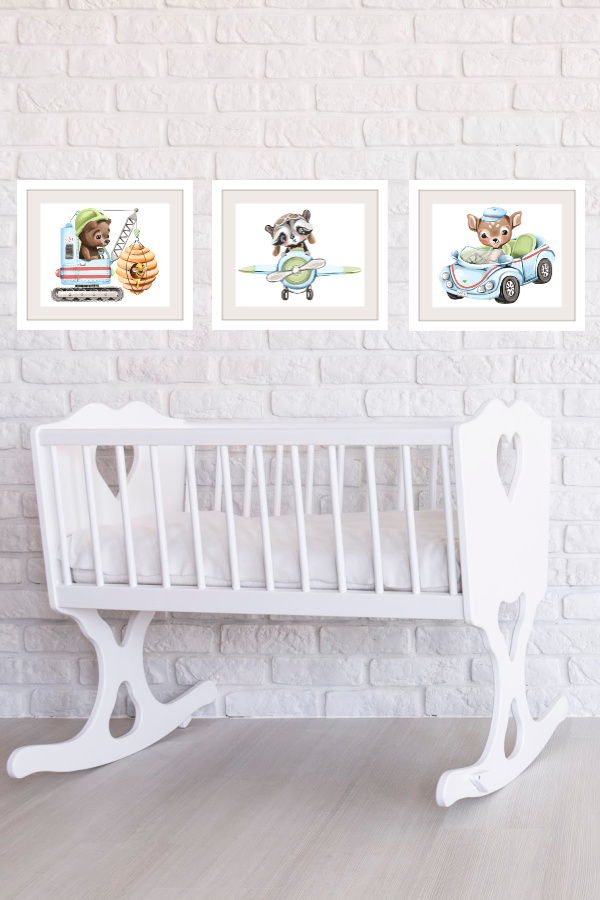 Set of 3 modern wall art prints of soft, cuddly forest animals to decorate a baby boy nursery or give as a baby shower gift.