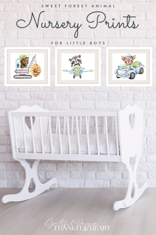 Set of 3 modern wall art prints of soft, cuddly forest animals to decorate a baby boy nursery or give as a baby shower, Christening, newborn or birthday gift.