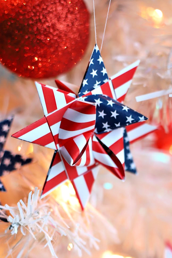 Make patriotic paper star ornaments or banner for 4th of July or Memorial Day. Celebrate America and your military hero with easy how-to video using paper strips.