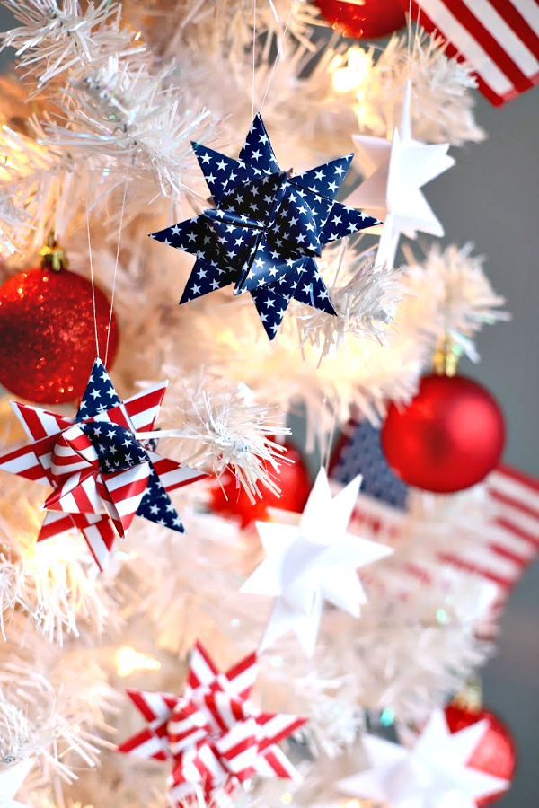 Easy step-by-step video tutorial how-to for paper patriotic stars. Fold and turn strips of paper to create a lovely 16-pointed, three dimensional ornament. Festive and perfect for 4th of July or the military hero in your life.