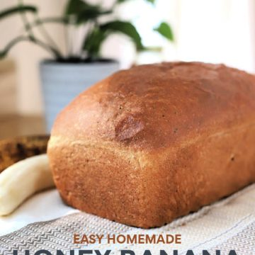 Easy recipe for healthy whole wheat bread with banana and honey. Dough made using a bread machine then shaped and baked for a delicious, lightly sweet yeast bread. Slices well for sandwiches and perfect spread with peanut butter! Instructions for making without a bread maker included.