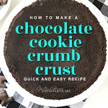 Simple how-to recipe for a quick and easy chocolate (or any crunchy) cookie crumb crust. It is perfect for pudding, cheesecake or peanut butter pies.