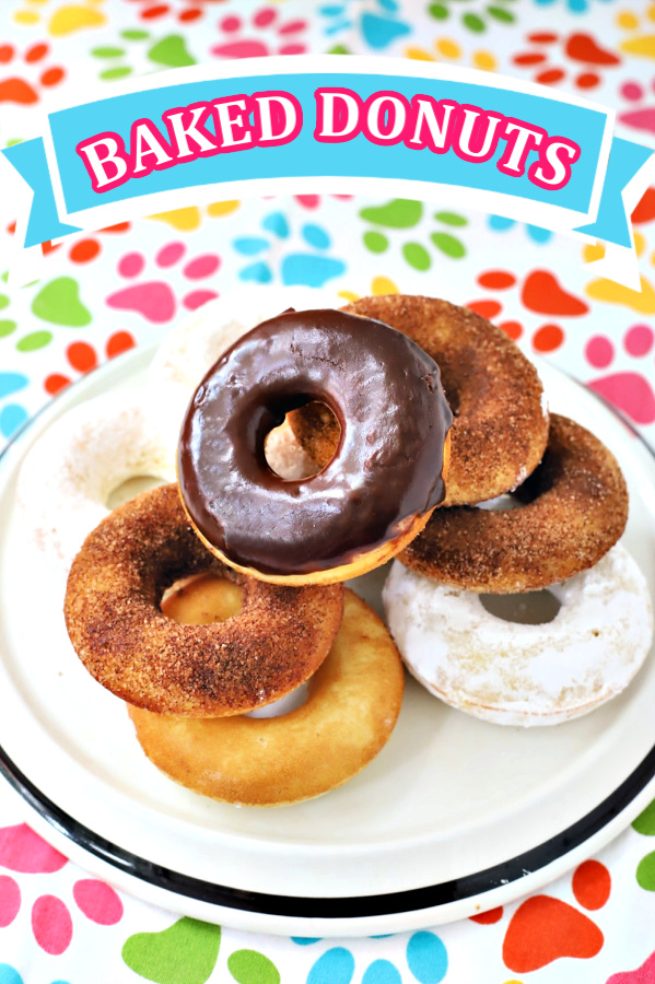 Make a batch of homemade baked cake donuts. Easy recipe and fun to make with kids or grandchildren. Add chocolate frosting, powered sugar, cinnamon sugar or just leave plain.