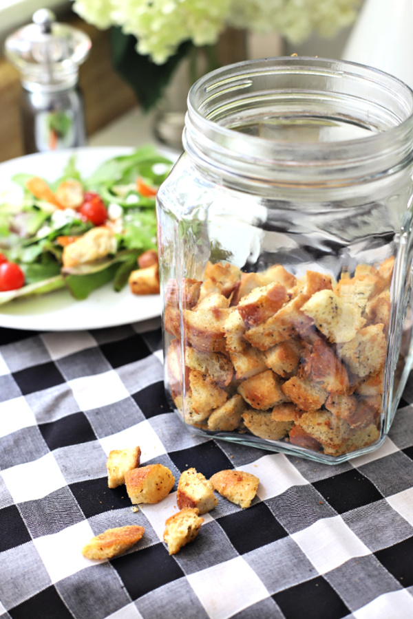 Easy and budget-friendly, homemade Parmesan croutons can be made in the oven or on the stovetop. Add to Caesar or garden salad and store extra in freezer.