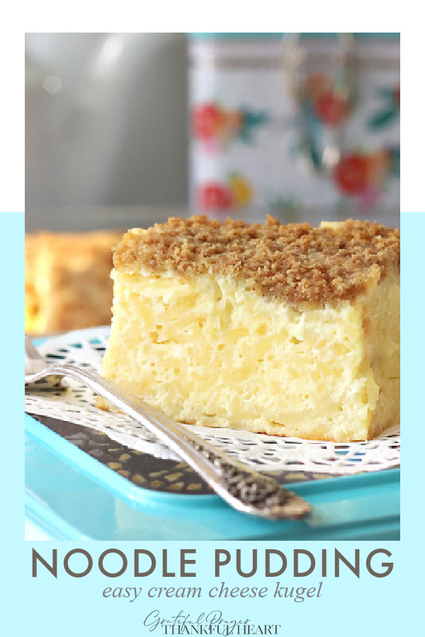 Noodle pudding, also called Jewish kugel is a sweet combo of egg noodles, cream and cottage cheese baked with a crunchy graham cracker topping.