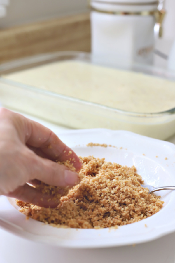 Crumb topping for noodle pudding kugel