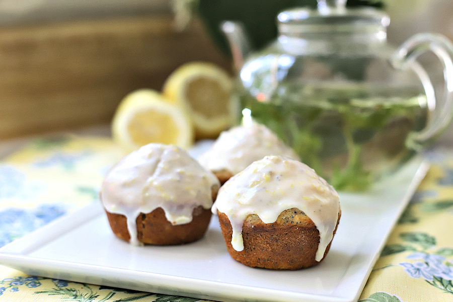 Lemon glazed poppy seed muffins with wheat germ