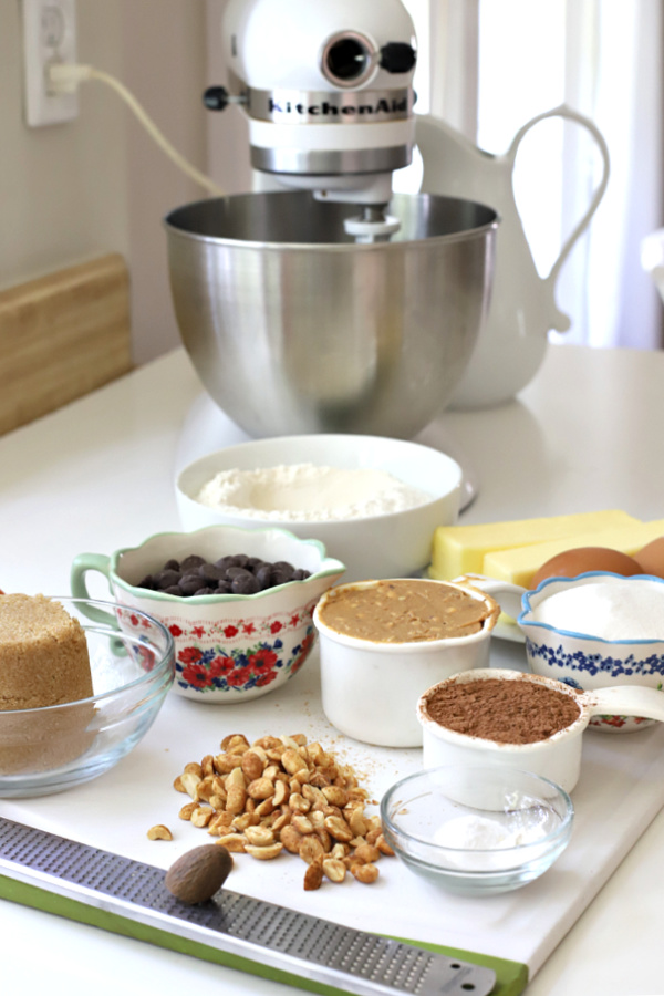 ingredients for chocolate peanut butter cookies