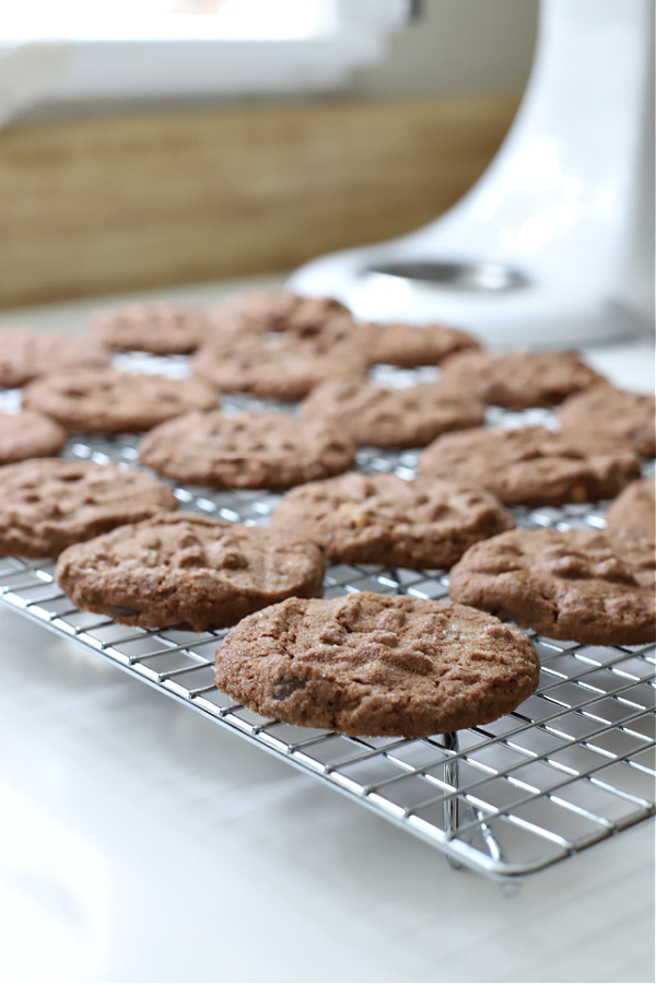Fresh from the oven chocolate peanut butter cookies.