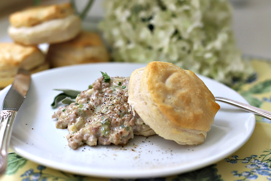 Country sausage gravy and biscuits with sage.