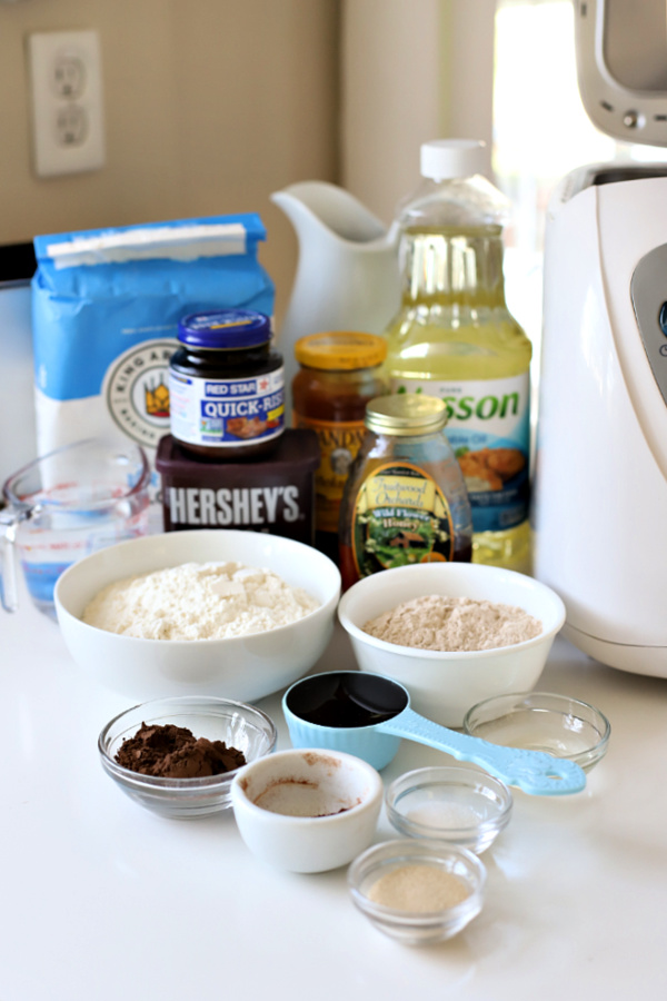 Ingredients for dark brown bread dough