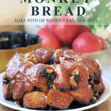 Easy recipe for homemade warm, gooey monkey bread with cinnamon. Dough from refrigerator biscuits for soft pull-apart breakfast or dessert.