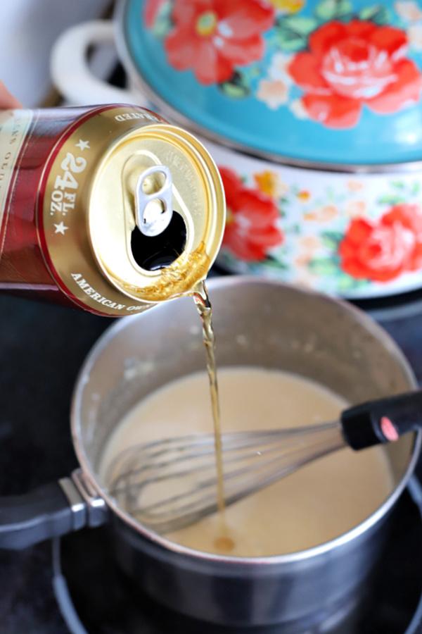 Adding beer to Welsh Rarebit sauce