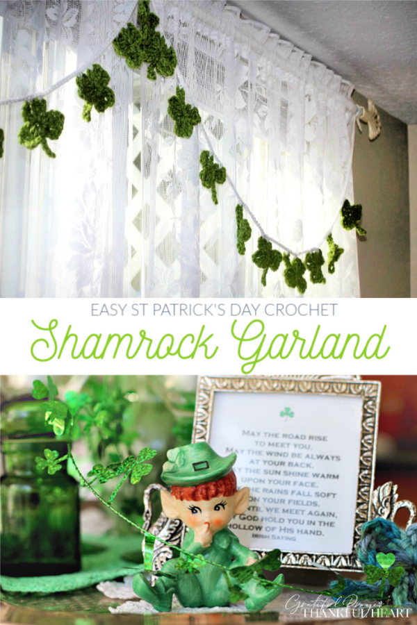 Make a quick and easy St Patrick's Day decoration. A crochet shamrock garland is so cute hung on a window, mantle or frame in Irish green.