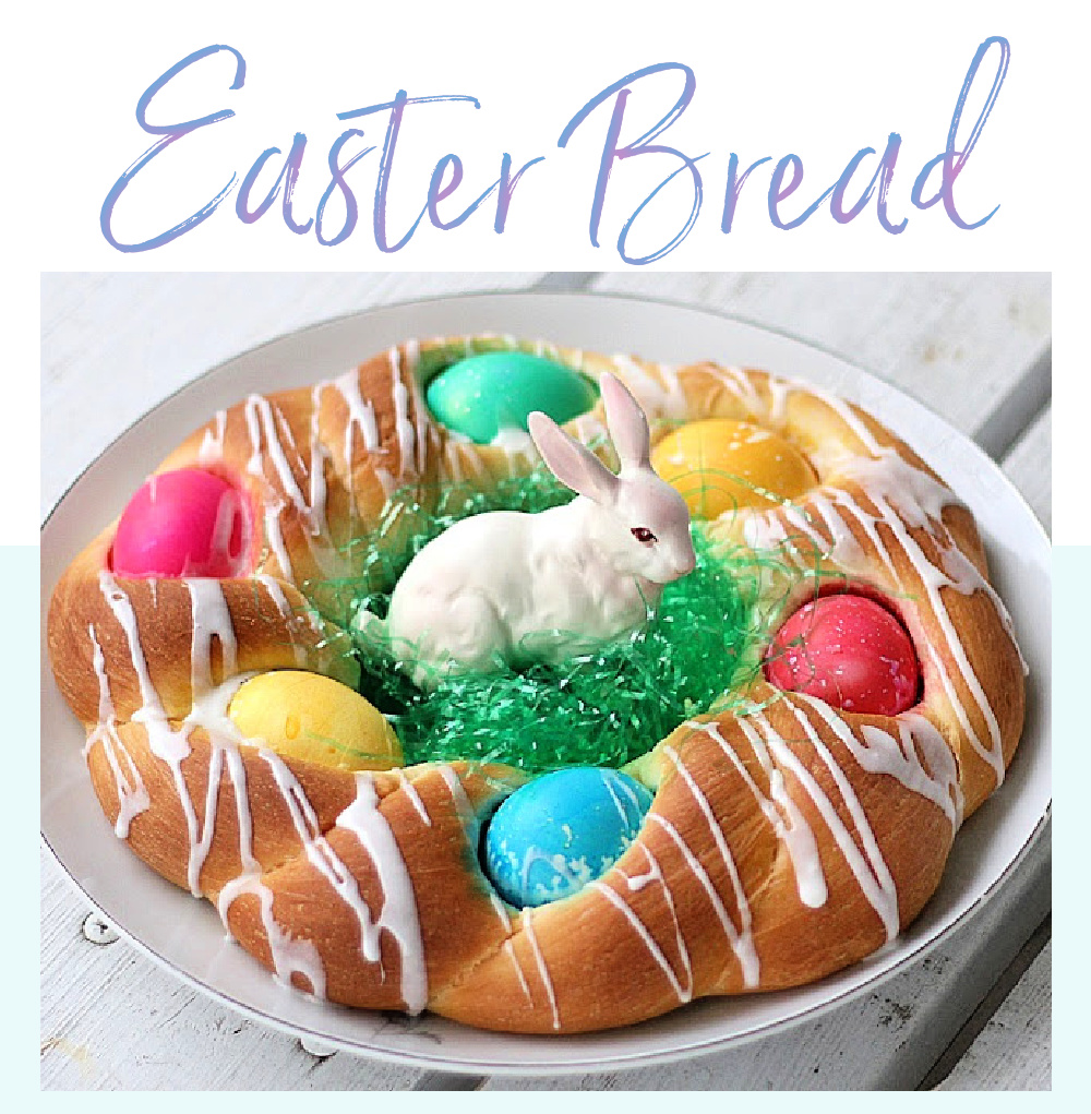 Sweet dough Easter Bread with colored eggs
