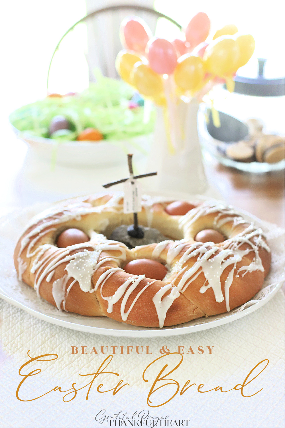 Make a beautiful Easter bread with natural or dyed eggs using a bread machine for the sweet dough.